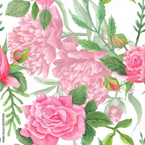 Fototapeta Shabby Chic Watercolor Peony and Rose Pattern
