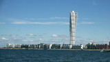 Malmo West Harbor Oresund Area Cityscape with Turning Torso as Distinctive Landmark of this Swedish Town and with its 190 m is the Largest Building in Sweden poster