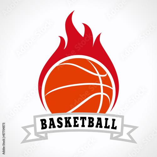 obraz lub plakat koszykówka ogień logo
