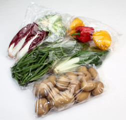 vegetables conserved in cellophane bags