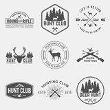 Fototapety vector set of hunting club labels, badges and design elements