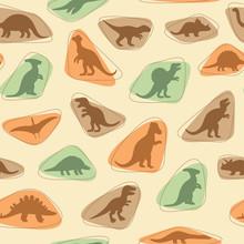 Vektor sadu siluety dinosaurů, živočišných ilustrační, retro podtisk