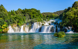 Lower cascade of waterfalls Skradinski Buk on a sunny day. Krka