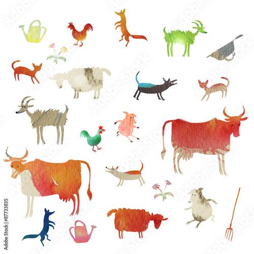 Fototapeta set of watercolor farm animals