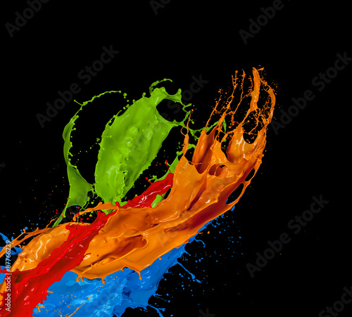 Colorful Paint Splatter Black Background Colored Paint Splash on Black