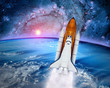 Space ship shuttle rocket launch spaceship Earth outer power orbit. Elements of this image furnished by NASA.