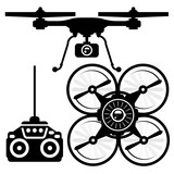 Silhouette of quadcopter and remote control (joystick) poster