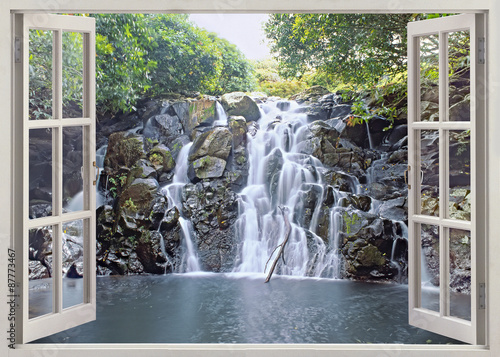 Panel Szklany Waterfall view from open window