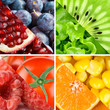 Fresh fruits, berries and vegetables
