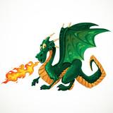vector fabulous magical green fire-spitting dragon