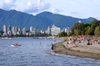 Vancouver skyline, Kitsilano beach with Grouse Mountain in the background