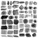 vector set of ink lines, set of hand drawn textures, scribbles of pen, hatching, scratch