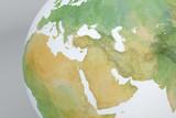 Cartina disegnata, illustrazione con Medio Oriente, Mediterraneo, Africa, Europa