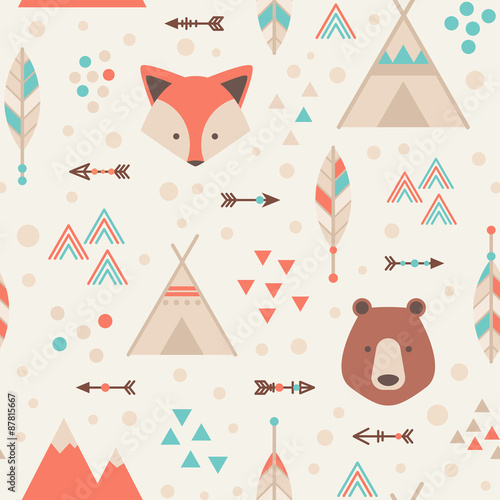 Cute trible geometric seamless pattern in cartoon style - 87815667