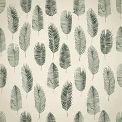 Set of hand drawn palm leaves