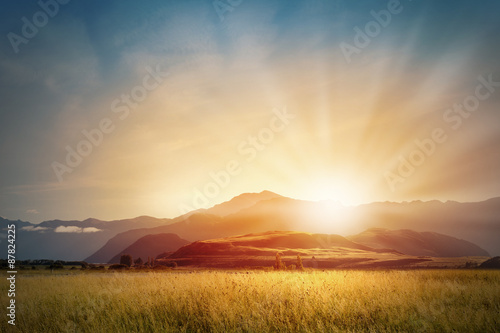 Sunrise above mountain  Poster