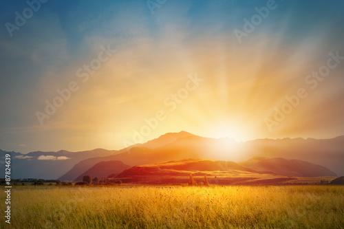 Plakat Sunrise above mountain