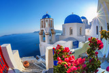 Santorini island with church against  sunset in Oia, Greece - 87829826