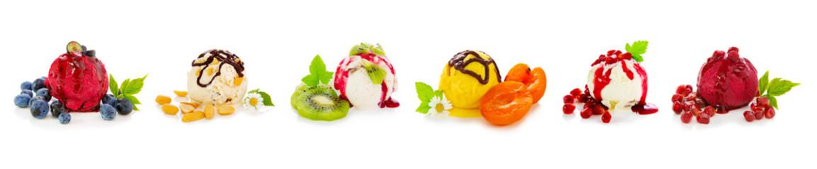 Various fruits ice isolated on white background. © Swetlana Wall