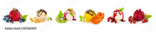 Various fruits ice isolated on white background.