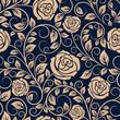 Obrazy na płótnie, fototapety, zdjęcia, fotoobrazy drukowane : Vintage roses flowers seamless pattern