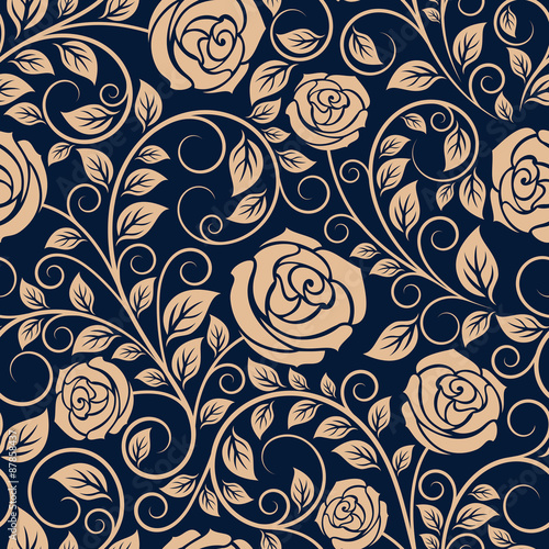 Vintage roses flowers seamless pattern - 87858437