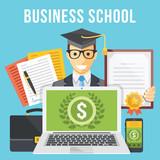 Fototapety Business school flat illustration concept