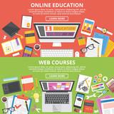 Fototapety Online education, web courses flat illustration concepts set