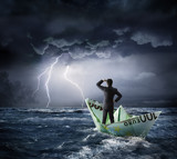 Euro boat in the crisis - investment risk concept