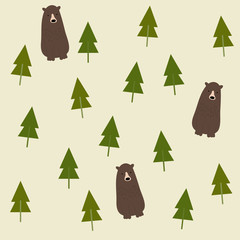 Bear and forest seamless background.
