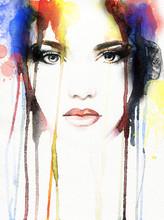 Akwarela portret kobiety .abstract