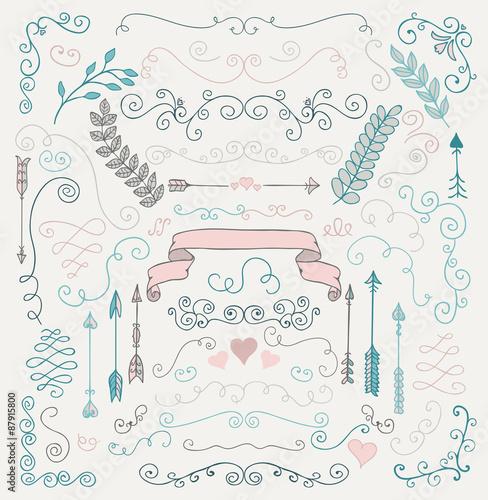 Vector Hand Sketched Rustic Floral Design Elements