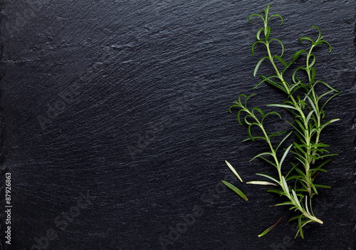 Rosemary herb on stone table