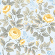 seamless floral pattern with roses and butterflies on blue backg