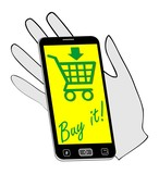 Smartphone on the palm invites you to buying on the Internet. The distinctive green drawing on a yellow background. Internet business advertising. poster