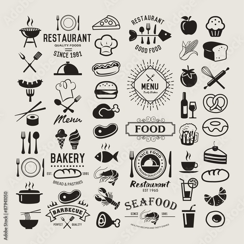Food vintage design elements, logos, badges, labels, icons and objects - 87941050