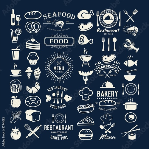 Food vintage design elements, logos, badges, labels, icons and objects - 87941082