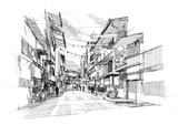 Fototapety rough sketch of the old street market