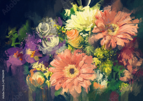 bouquet flowers in oil painting style,illustration - 87960449