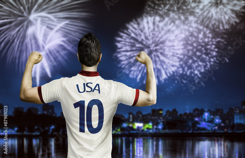 American soccer fan celebrates the victory after the match Poster