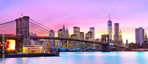 View of New York City at dusk. - 88002483