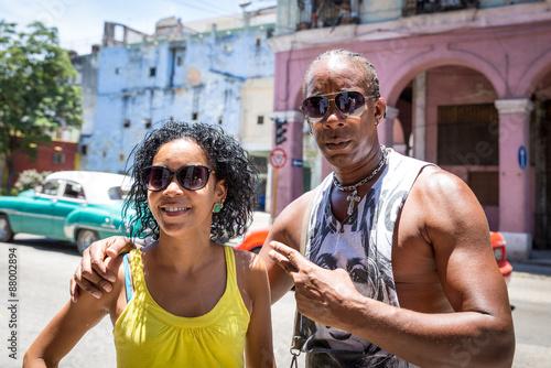 Foto op Canvas Caraïben Portrait of a Cuban couple in Havana, Cuba