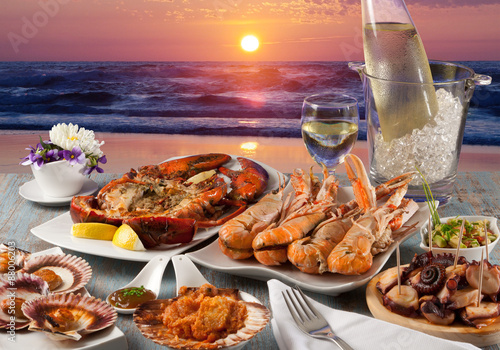 Naklejka seafood restaurant on the beach