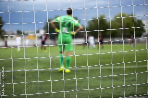 Foto op Canvas Stadion background of football goalkeeper