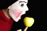 mime biting an apple