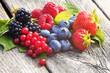 Leinwanddruck Bild - Heidelbeeren, Himbeeren, Erdbeeren, Brombeeren und Johannisbeeren,  auf Holz, copy space