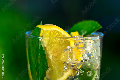 Fototapeta cocktail with lemon and peppermint leaves
