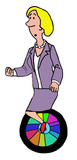 Business cartoon showing businesswoman balancing on a unicycle.