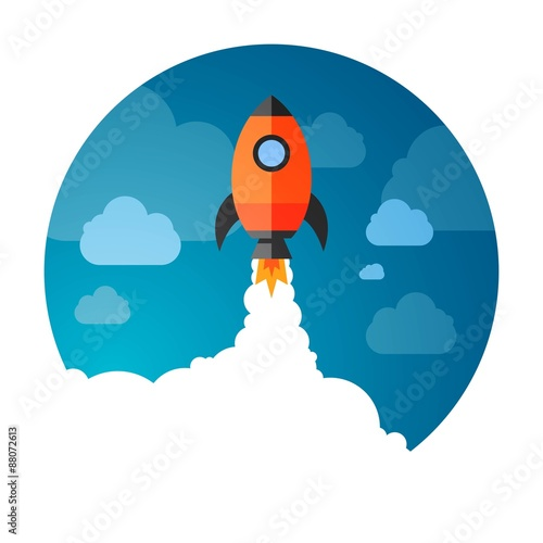Foto op Aluminium Kosmos Vector Illustration of a Business Start-Up Rocket Space Exploration
