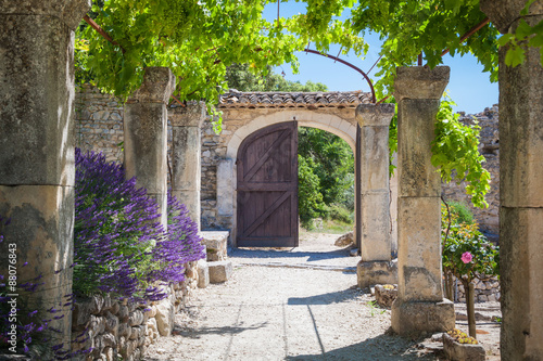 Fototapeta The old abbey of St.Hilaire near the village Lacoste in Provence